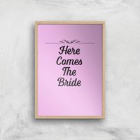 Here Comes The Bride Art Print - A3 - Wood Frame