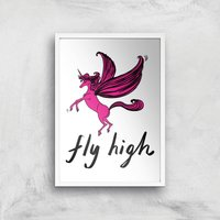 Rock On Ruby Fly High Art Print - A3 - White Frame