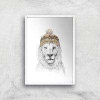 Balazs Solti Lion with Hat Art Print - A3 - White Frame