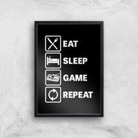Eat Sleep Game Repeat Art Print - A4 - Black Frame