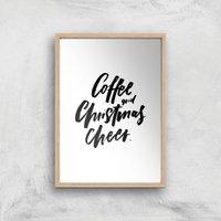 PlanetA444 Coffee and Christmas Cheer Art Print - A3 - Wood Frame - Christmas Gifts