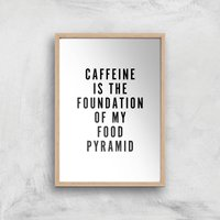 PlanetA444 Caffeine Is The Foundation Of My Food Pyramid Art Print - A3 - Wood Frame - Makeup Gifts
