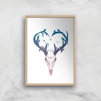 Balazs Solti Antlers Art Print - A3 - Wood Frame