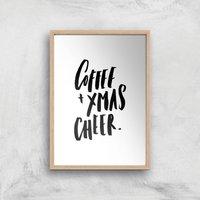 PlanetA444 Coffee and Xmas Cheer Art Print - A3 - Wood Frame - Christmas Gifts