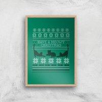 Meowy Christmas Art Print - A3 - Wood Frame - Christmas Gifts