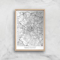 City Art Black and White Outlined Manchester Map Art Print - A3 - Wood Frame
