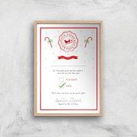 Nice List Certificate Christmas Art Print - A3 - Wood Frame - Christmas Gifts