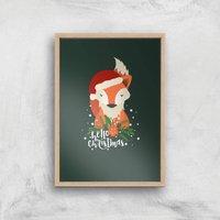 Christmas Fox Hello Christmas Art Print - A3 - Wood Frame - Christmas Gifts