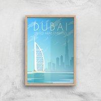 Visit... Dubai Giclee Art Print - A2 - Wooden Frame