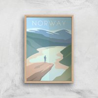 Visit... Norway Giclee Art Print - A3 - Wooden Frame