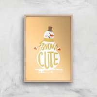 Christmas Snow Cute Snowman Art Print - A3 - Wood Frame - Christmas Gifts