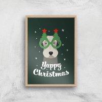 Yappy Christmas Art Print - A3 - Wood Frame - Christmas Gifts