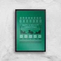 Meowy Christmas Art Print - A4 - Black Frame - Christmas Gifts