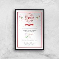 Nice List Certificate Christmas Art Print - A4 - Black Frame - Christmas Gifts