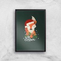 Christmas Fox Hello Christmas Art Print - A4 - Black Frame - Christmas Gifts
