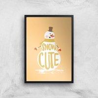 Christmas Snow Cute Snowman Art Print - A4 - Black Frame - Christmas Gifts
