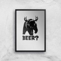 Beer Bear Deer Art Print - A4 - Black Frame