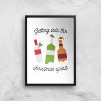 Getting Into The Christmas Spirit Art Print - A4 - Black Frame - Christmas Gifts