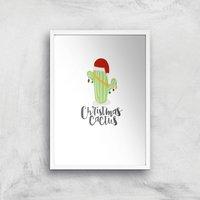 Christmas Cactus Art Print - A4 - White Frame - Christmas Gifts