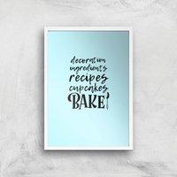 Baking Words Art Print - A4 - White Frame