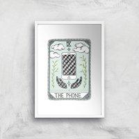 The Phone Art Print - A4 - White Frame