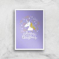 Unicorn Christmas Head Art Print - A4 - White Frame - Christmas Gifts