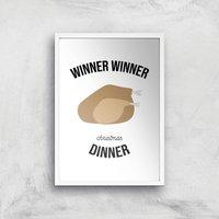Winner Winner Christmas Dinner Art Print - A4 - White Frame - Christmas Gifts