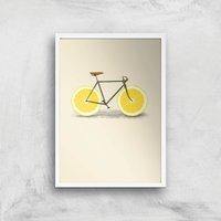 Citrus Lemon Art Print - A4 - White Frame
