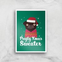 Pugly Xmas Sweater Art Print - A4 - White Frame - Christmas Gifts