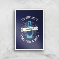 It's The Most Wonderful Time For A Beer Art Print - A4 - White Frame - Beer Gifts