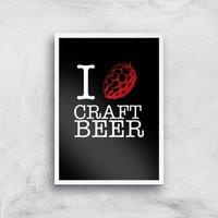 I Hop Craft Beer Art Print - A4 - White Frame - Beer Gifts