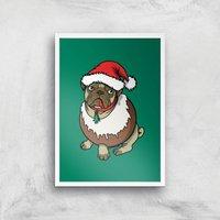 Christmas Puggin Art Print - A4 - White Frame - Christmas Gifts