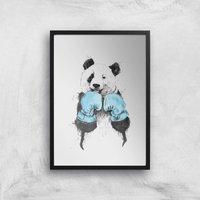 Balazs Solti Boxing Panda Art Print - A4 - Black Frame