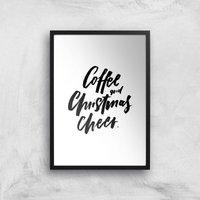 PlanetA444 Coffee and Christmas Cheer Art Print - A4 - Black Frame - Christmas Gifts