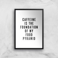 PlanetA444 Caffeine Is The Foundation Of My Food Pyramid Art Print - A4 - Black Frame - Makeup Gifts