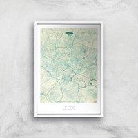City Art Coloured Leeds Map Art Print - A4 - White Frame