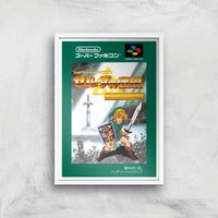 Nintendo Retro Zelda Cover Art Print - A4 - White Frame - Computer Games Gifts