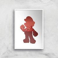 Nintendo Super Mario Silhouette Art Print - A4 - White Frame - Computer Games Gifts