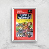 Nintendo Retro Super Mario Kart Cover Art Print - A4 - White Frame - Computer Games Gifts