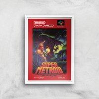 Nintendo Retro Super Metroid Cover Art Print - A4 - White Frame - Computer Games Gifts