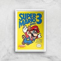 Nintendo Super Mario Bros 3 Art Print - A4 - White Frame - Computer Games Gifts