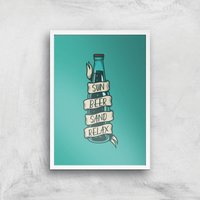 Sun Beer Sand Relax Art Print - A4 - White Frame - Beer Gifts