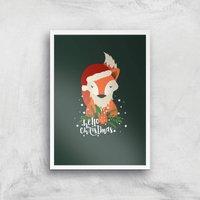 Christmas Fox Hello Christmas Art Print - A4 - White Frame - Christmas Gifts