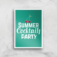 Summer Cocktails Party Art Print - A4 - White Frame - Alcohol Gifts