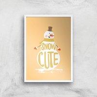 Christmas Snow Cute Snowman Art Print - A4 - White Frame - Christmas Gifts