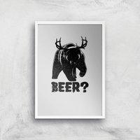 Beer Bear Deer Art Print - A4 - White Frame - Beer Gifts