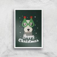 Yappy Christmas Art Print - A4 - White Frame - Christmas Gifts