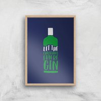 Let The Christmas Fun Be Gin Art Print - A4 - Wood Frame - Christmas Gifts