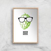 Beer Geek Art Print - A4 - Wood Frame - Beer Gifts