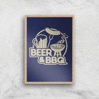Beer & BBQ Art Print - A4 - Wood Frame - Beer Gifts